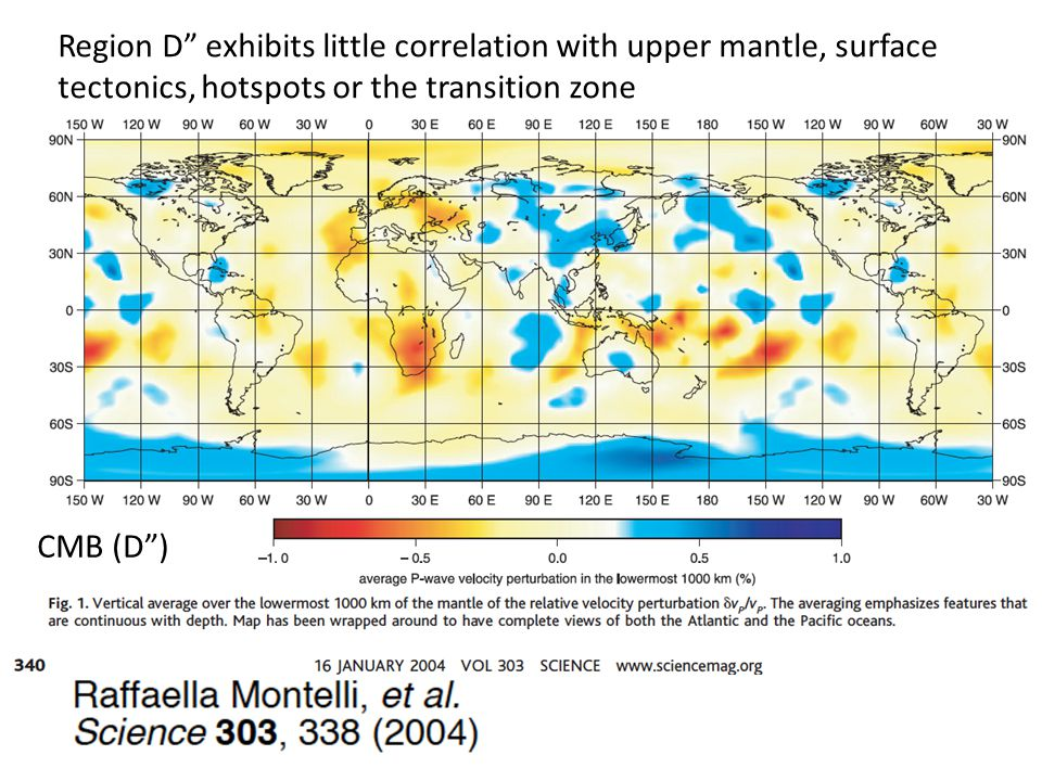 CMB (D ) Region D exhibits little correlation with upper mantle, surface tectonics, hotspots or the transition zone