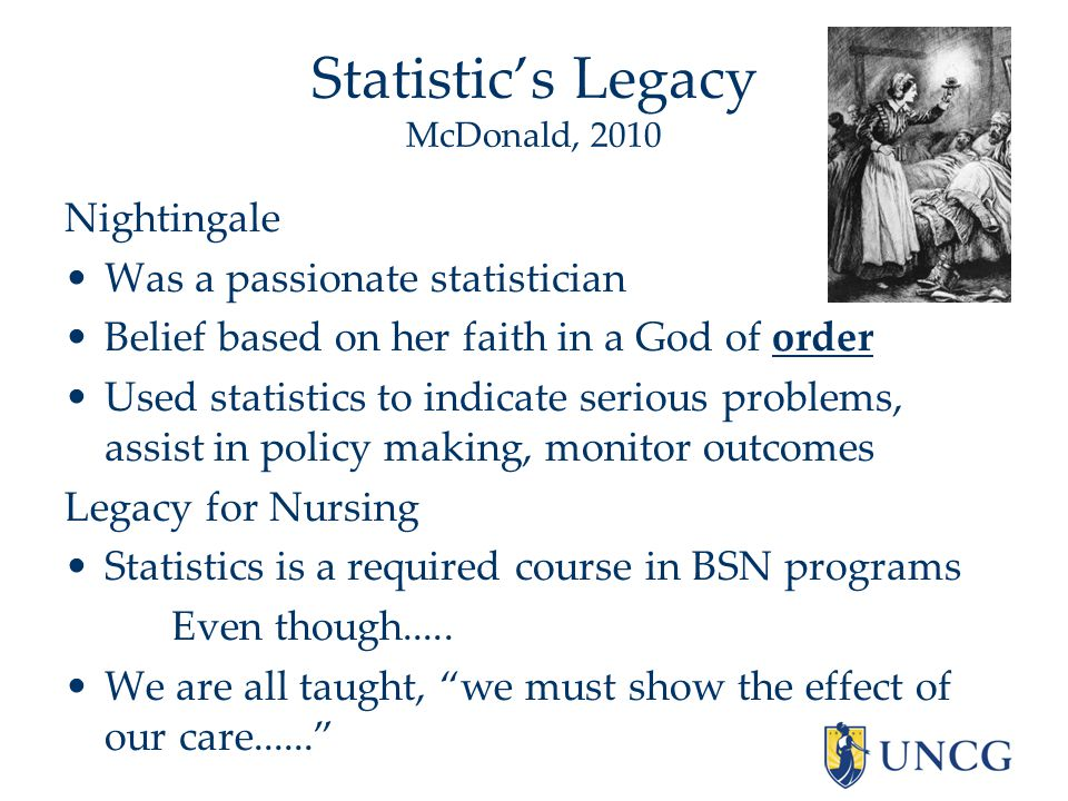 Statistic's Legacy McDonald, 2010 Nightingale Was a passionate statistician Belief based on her faith in a God of order Used statistics to indicate serious problems, assist in policy making, monitor outcomes Legacy for Nursing Statistics is a required course in BSN programs Even though.....