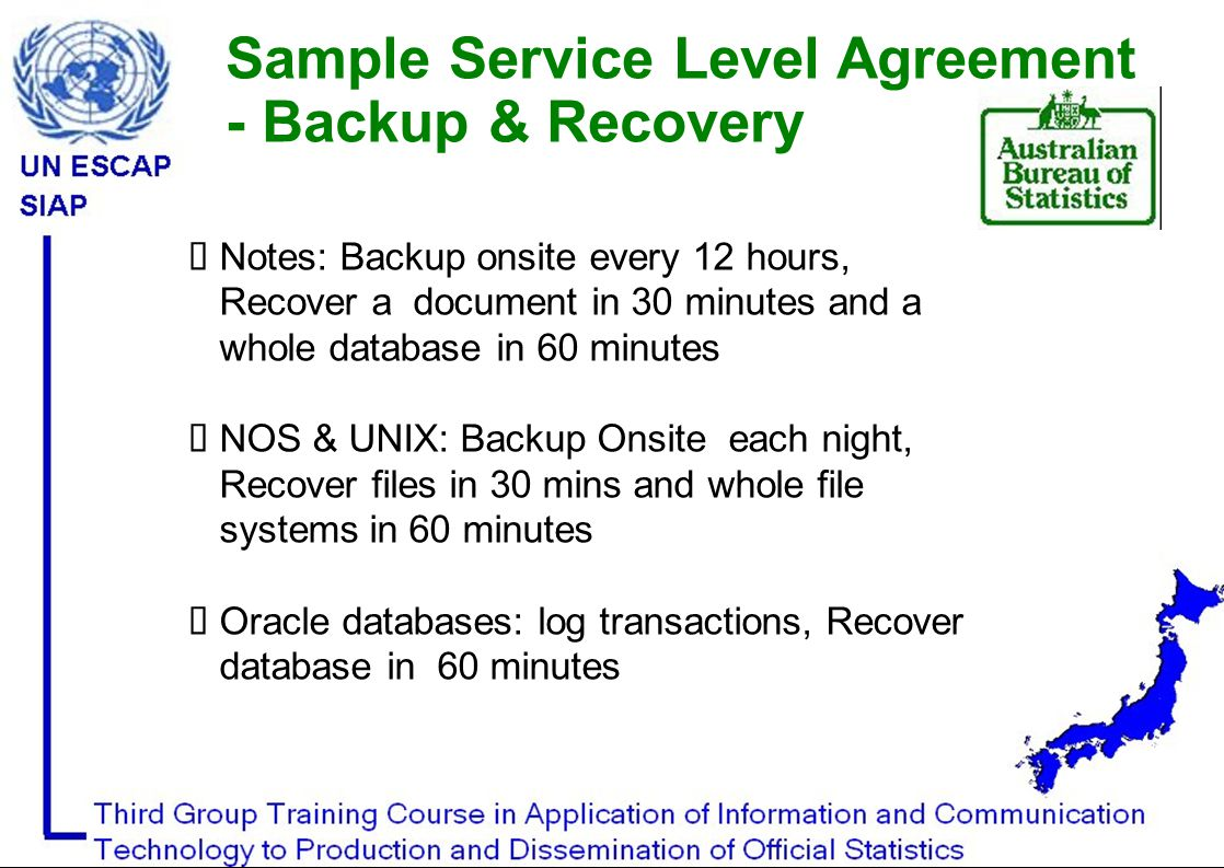  Notes: Backup onsite every 12 hours, Recover a document in 30 minutes and a whole database in 60 minutes  NOS & UNIX: Backup Onsite each night, Recover files in 30 mins and whole file systems in 60 minutes  Oracle databases: log transactions, Recover database in 60 minutes Sample Service Level Agreement - Backup & Recovery