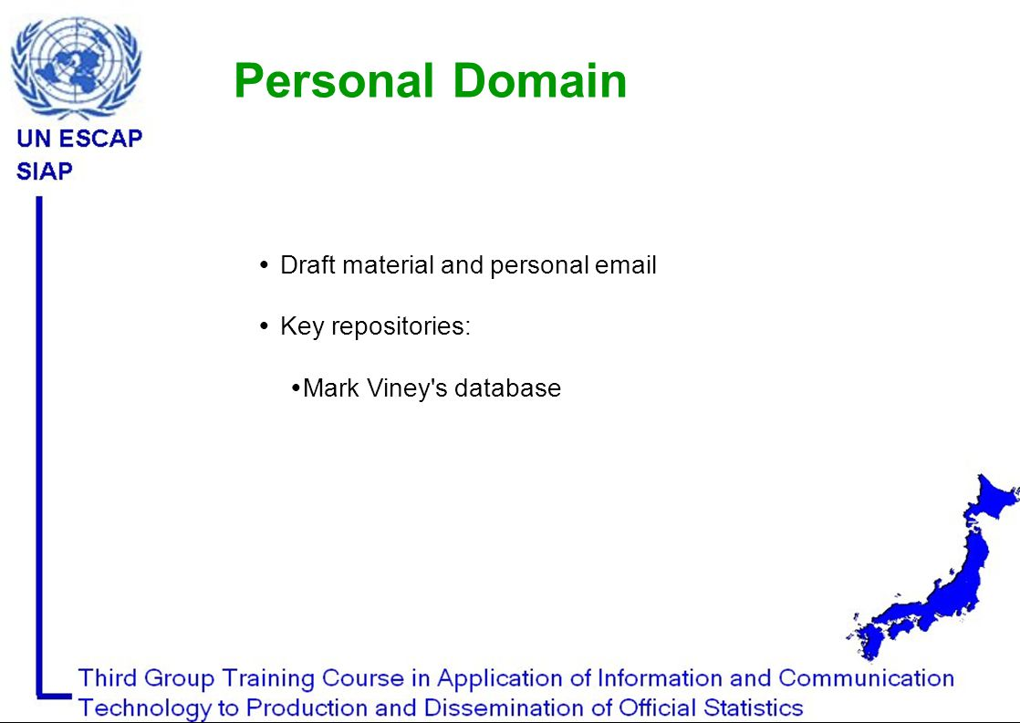  Draft material and personal email  Key repositories:  Mark Viney s database Personal Domain