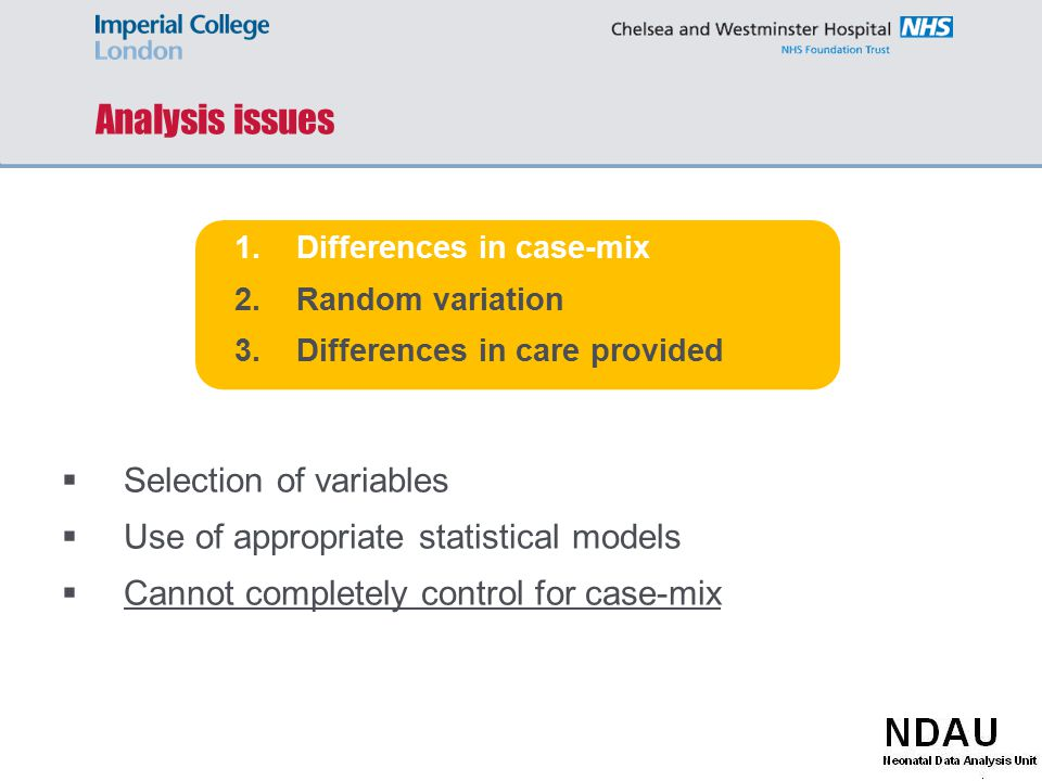 Analysis issues 1.Differences in case-mix 2.Random variation 3.Differences in care provided  Selection of variables  Use of appropriate statistical models  Cannot completely control for case-mix