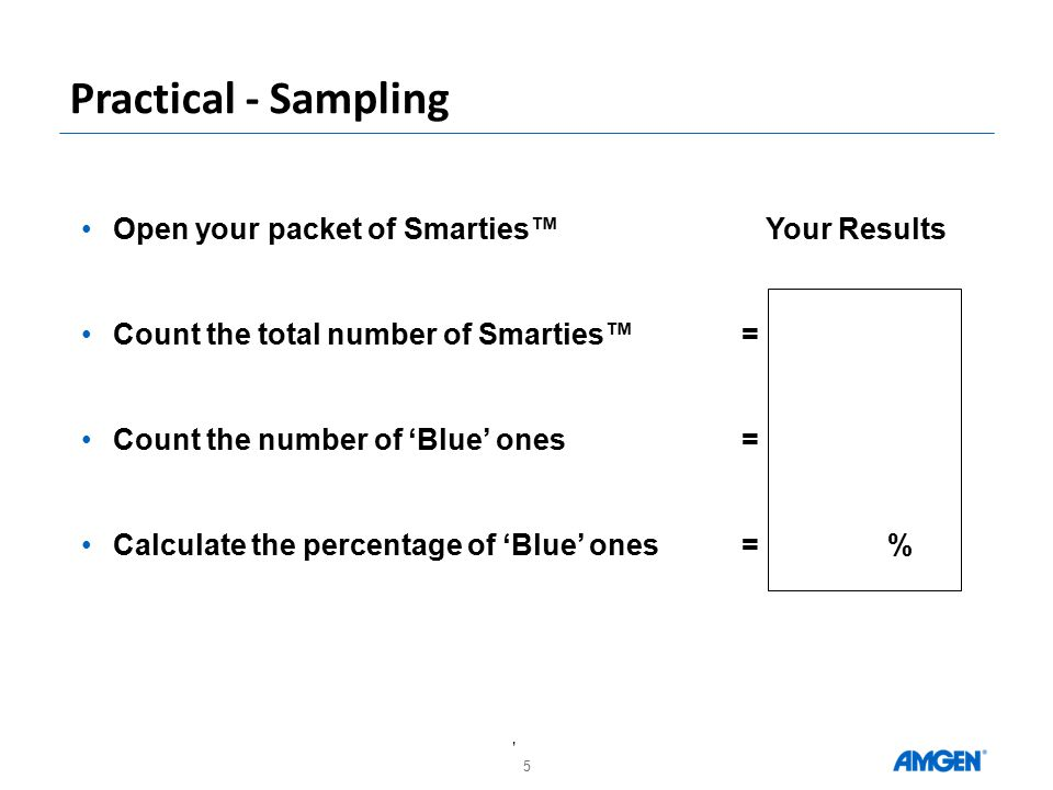 5 Practical - Sampling Open your packet of Smarties™ Your Results Count the total number of Smarties™= Count the number of 'Blue' ones= Calculate the percentage of 'Blue' ones= %