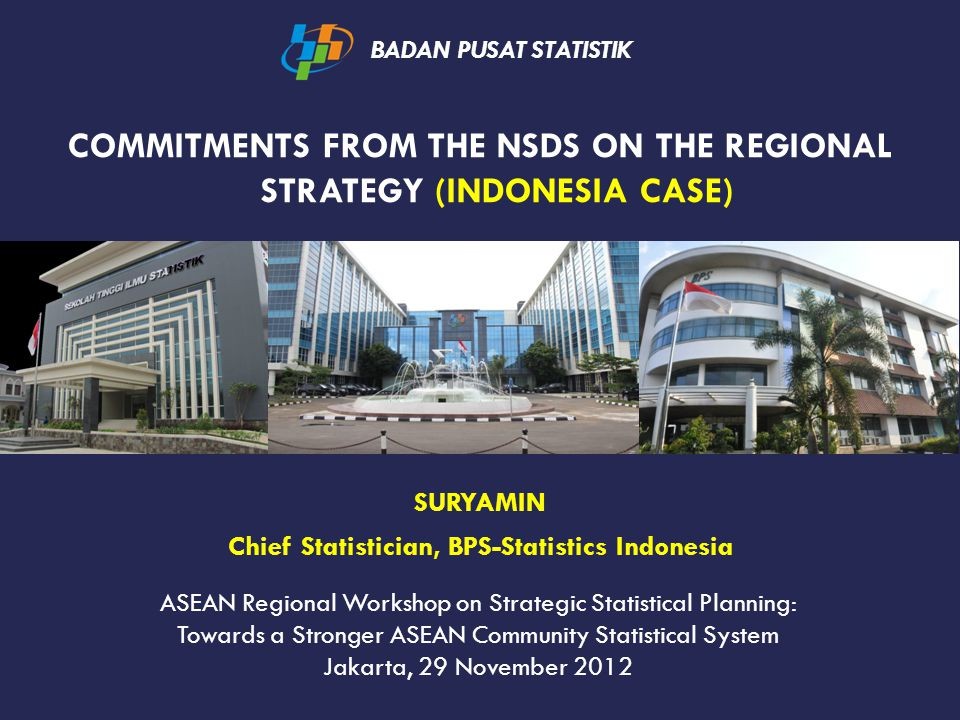 COMMITMENTS FROM THE NSDS ON THE REGIONAL STRATEGY (INDONESIA CASE) BADAN PUSAT STATISTIK SURYAMIN Chief Statistician, BPS-Statistics Indonesia ASEAN Regional Workshop on Strategic Statistical Planning: Towards a Stronger ASEAN Community Statistical System Jakarta, 29 November 2012