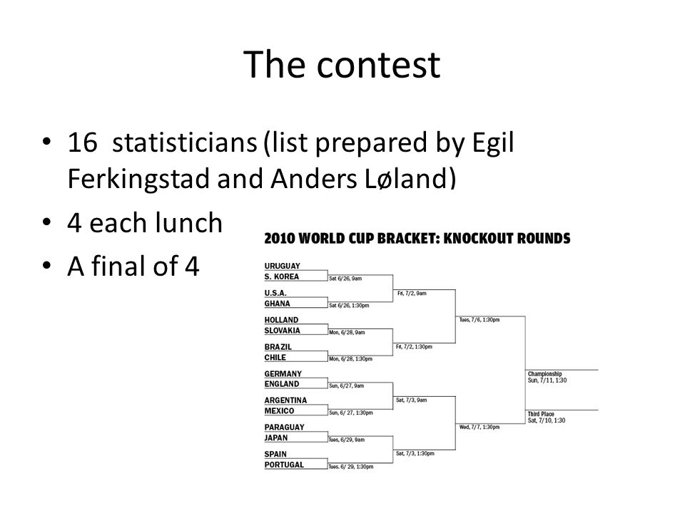 The contest 16 statisticians (list prepared by Egil Ferkingstad and Anders Løland) 4 each lunch A final of 4