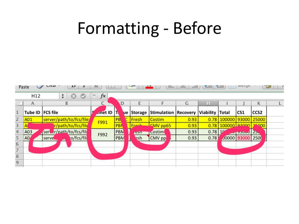 Formatting - Before