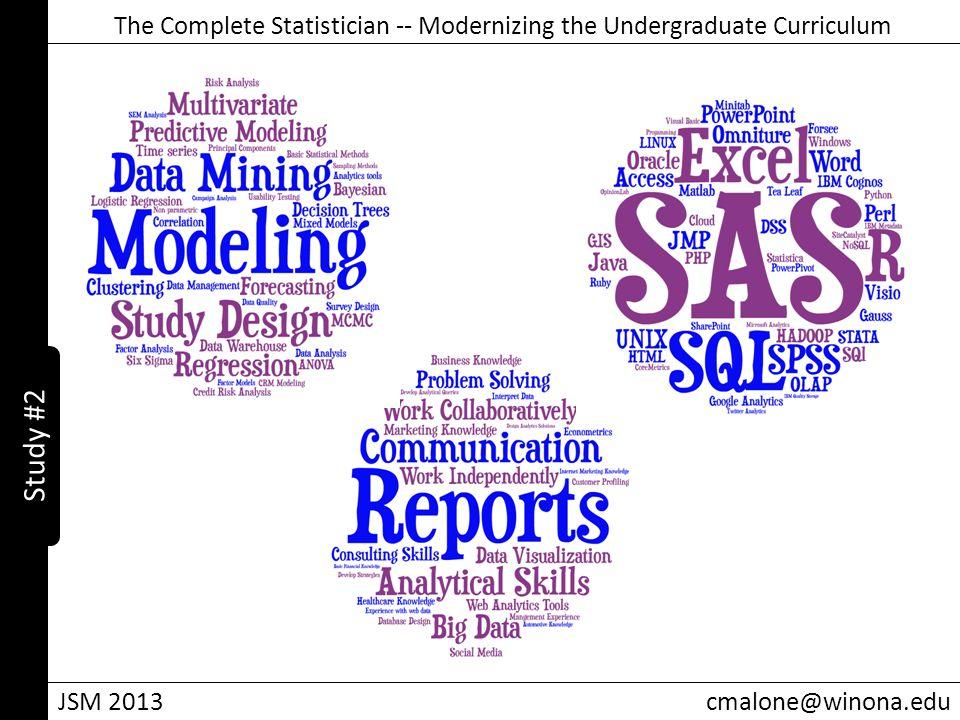 The Complete Statistician -- Modernizing the Undergraduate Curriculum JSM 2013cmalone@winona.edu Study #2