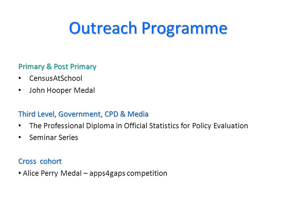 Outreach Programme Primary & Post Primary CensusAtSchool John Hooper Medal Third Level, Government, CPD & Media The Professional Diploma in Official Statistics for Policy Evaluation Seminar Series Cross cohort Alice Perry Medal – apps4gaps competition