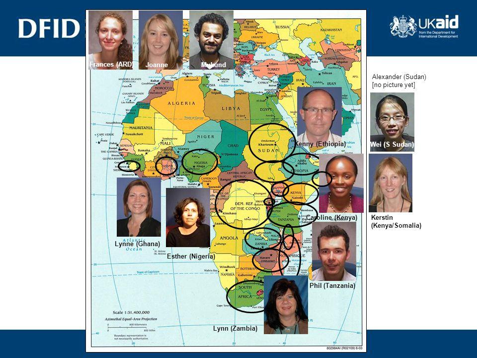 Lynn (Zambia) Esther (Nigeria) Lynne (Ghana) Kenny (Ethiopia) Caroline (Kenya) Frances (ARD) Joanne Phil (Tanzania) Mukund Alexander (Sudan) [no picture yet] Wei (S Sudan) Kerstin (Kenya/Somalia)