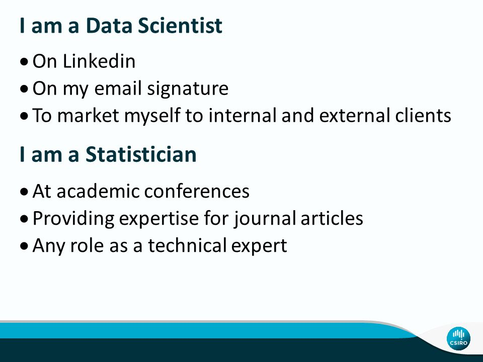  On Linkedin  On my email signature  To market myself to internal and external clients I am a Data Scientist I am a Statistician  At academic conferences  Providing expertise for journal articles  Any role as a technical expert
