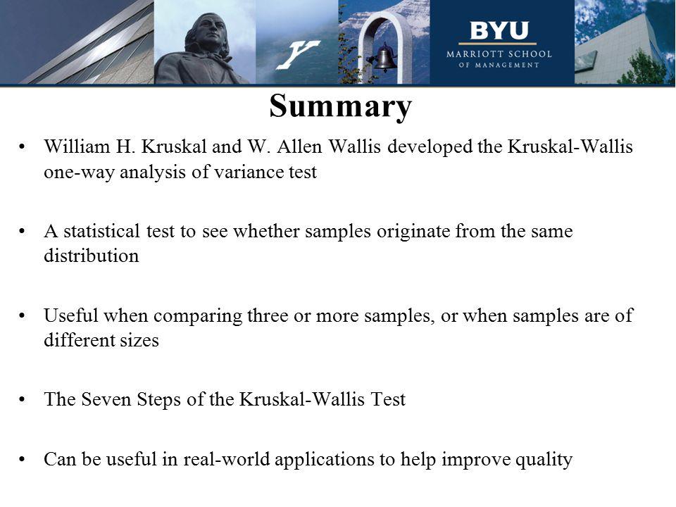 Summary William H. Kruskal and W.