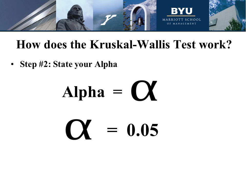 Step #2: State your Alpha = 0.05 Alpha =