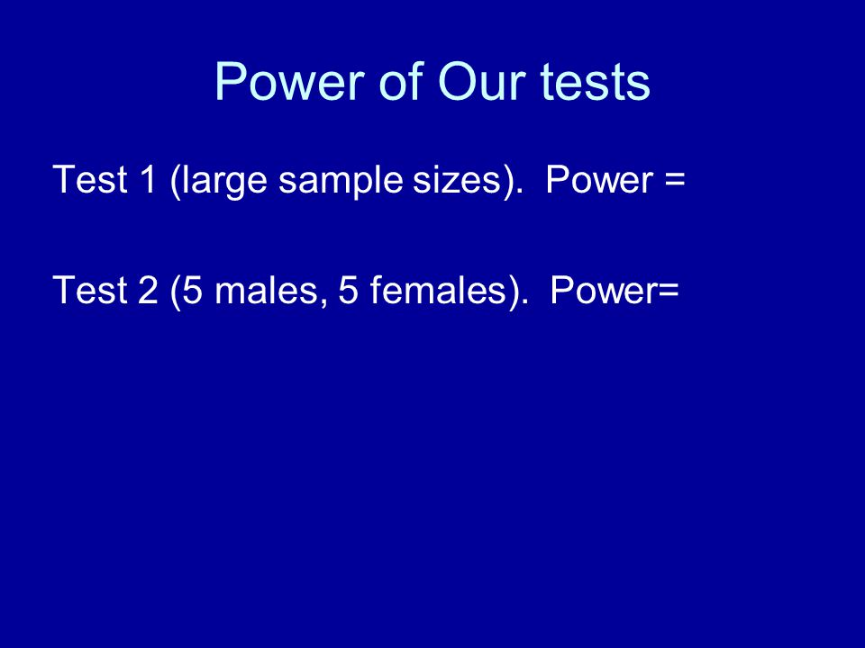 Power of Our tests Test 1 (large sample sizes). Power = Test 2 (5 males, 5 females). Power=