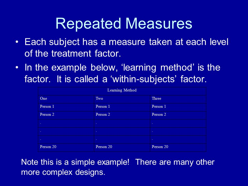 Repeated Measures Each subject has a measure taken at each level of the treatment factor. In the example below, 'learning method' is the factor. It is
