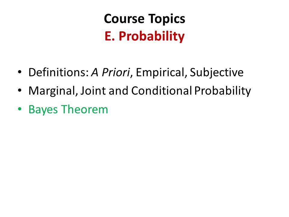 Course Topics E.