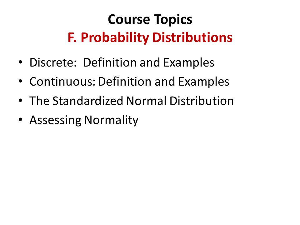 Course Topics F.