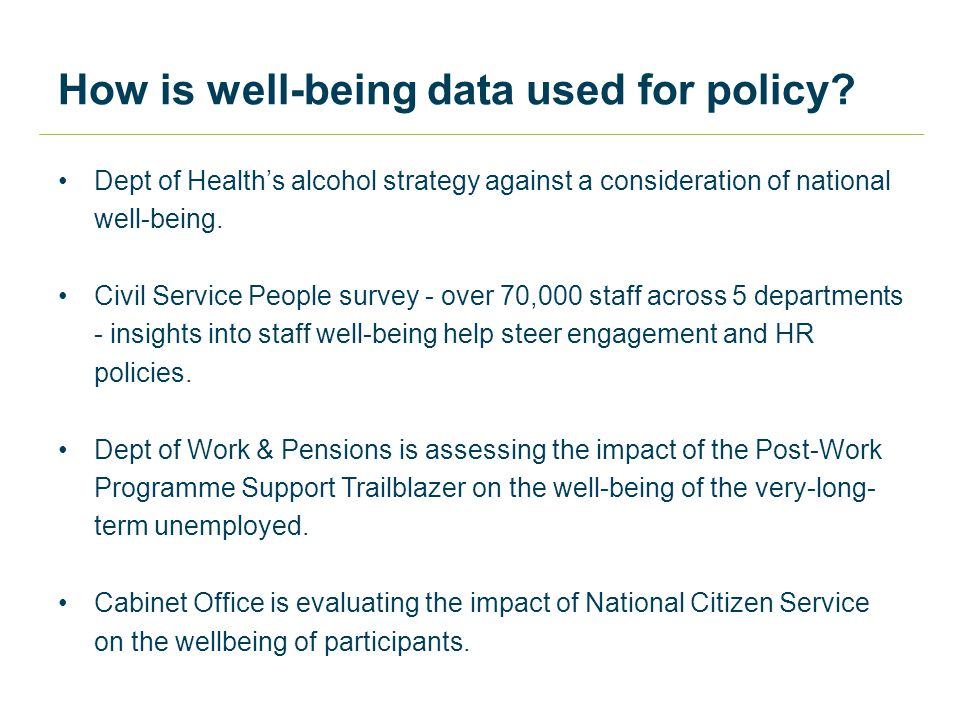 How is well-being data used for policy.