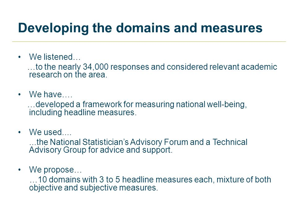 Developing the domains and measures We listened… …to the nearly 34,000 responses and considered relevant academic research on the area.