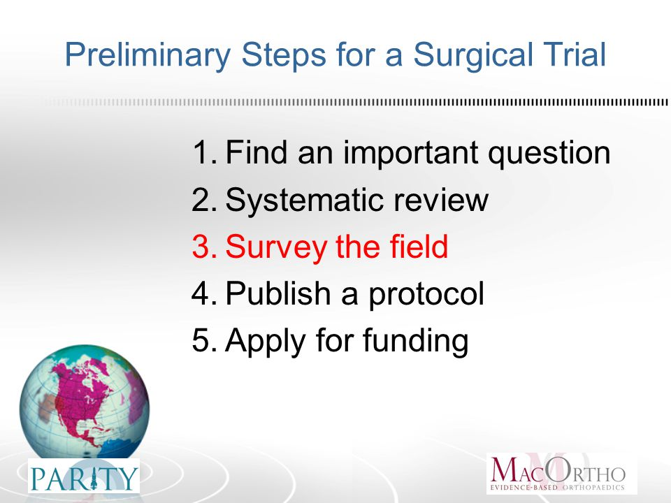 Preliminary Steps for a Surgical Trial 1.Find an important question 2.Systematic review 3.Survey the field 4.Publish a protocol 5.Apply for funding