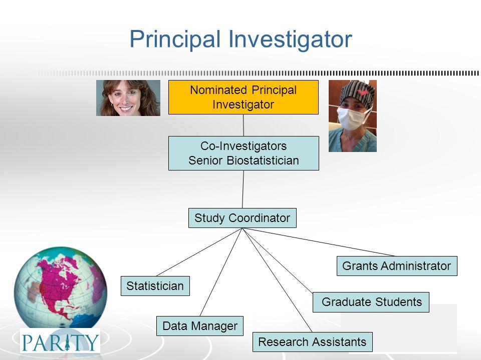 Principal Investigator Nominated Principal Investigator Co-Investigators Senior Biostatistician Statistician Data Manager Study Coordinator Research A