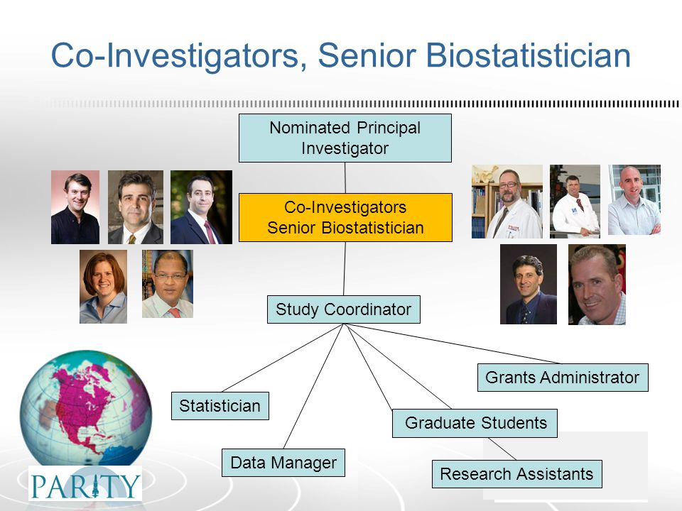 Co-Investigators, Senior Biostatistician Nominated Principal Investigator Co-Investigators Senior Biostatistician Statistician Data Manager Study Coordinator Research Assistants Grants Administrator Graduate Students