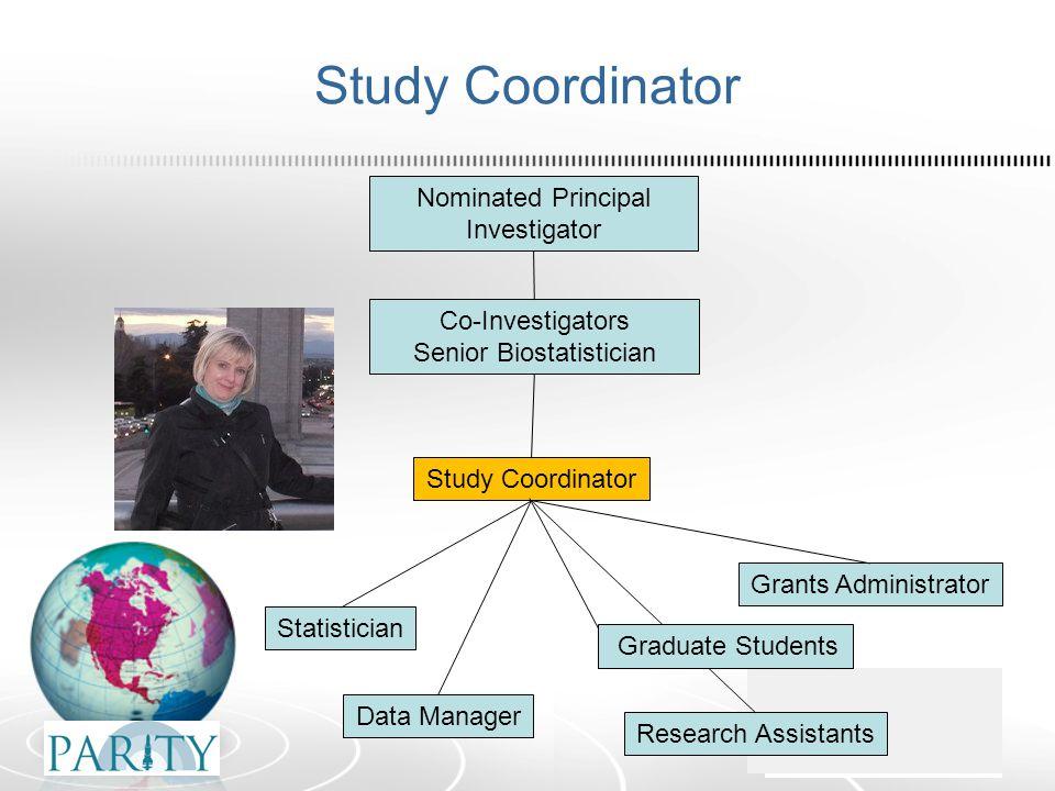 Study Coordinator Nominated Principal Investigator Co-Investigators Senior Biostatistician Statistician Data Manager Study Coordinator Research Assistants Grants Administrator Graduate Students