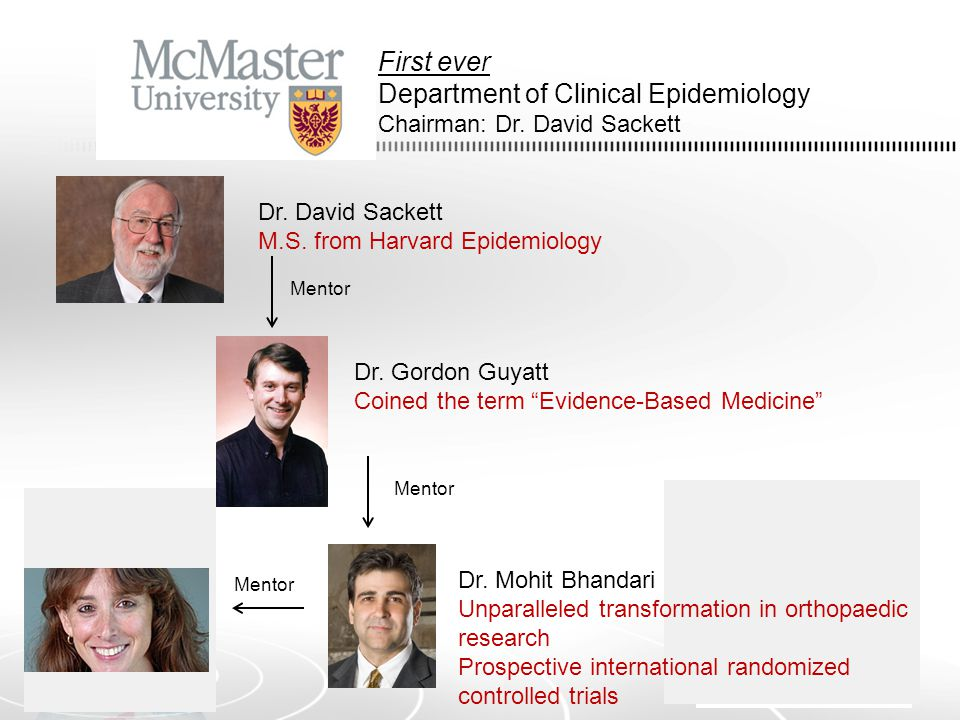 First ever Department of Clinical Epidemiology Chairman: Dr.