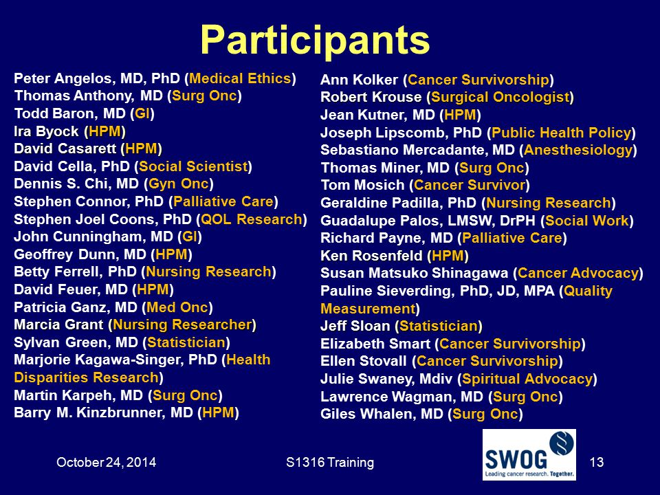 Participants Peter Angelos, MD, PhD (Medical Ethics) Thomas Anthony, MD (Surg Onc) Todd Baron, MD (GI) Ira Byock (HPM) David Casarett (HPM) David Cell