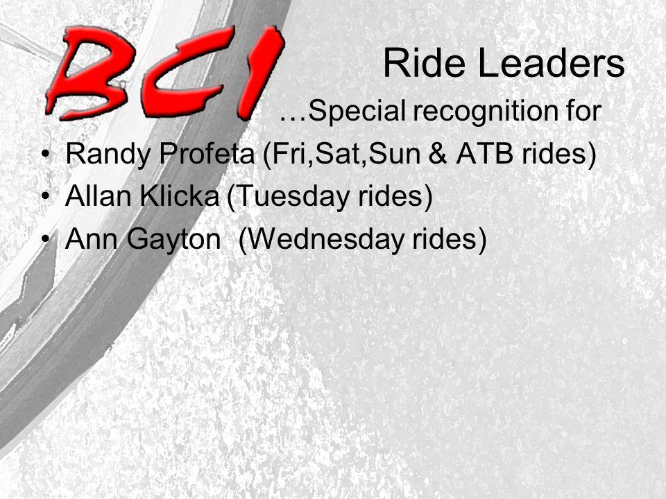 Ride Leaders …Special recognition for Randy Profeta (Fri,Sat,Sun & ATB rides) Allan Klicka (Tuesday rides) Ann Gayton (Wednesday rides)