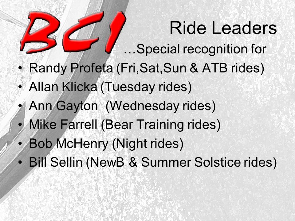 Ride Leaders …Special recognition for Randy Profeta (Fri,Sat,Sun & ATB rides) Allan Klicka (Tuesday rides) Ann Gayton (Wednesday rides) Mike Farrell (Bear Training rides) Bob McHenry (Night rides) Bill Sellin (NewB & Summer Solstice rides)