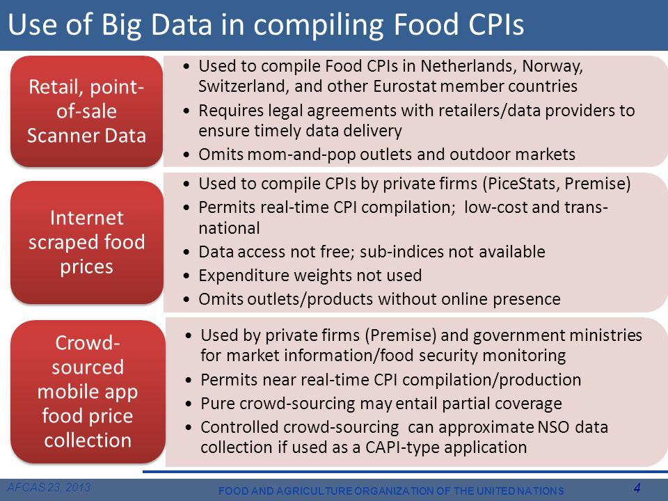 AFCAS 23, 2013 4 FOOD AND AGRICULTURE ORGANIZATION OF THE UNITED NATIONS Use of Big Data in compiling Food CPIs Used to compile Food CPIs in Netherlands, Norway, Switzerland, and other Eurostat member countries Requires legal agreements with retailers/data providers to ensure timely data delivery Omits mom-and-pop outlets and outdoor markets Retail, point- of-sale Scanner Data Used to compile CPIs by private firms (PiceStats, Premise) Permits real-time CPI compilation; low-cost and trans- national Data access not free; sub-indices not available Expenditure weights not used Omits outlets/products without online presence Internet scraped food prices Used by private firms (Premise) and government ministries for market information/food security monitoring Permits near real-time CPI compilation/production Pure crowd-sourcing may entail partial coverage Controlled crowd-sourcing can approximate NSO data collection if used as a CAPI-type application Crowd- sourced mobile app food price collection
