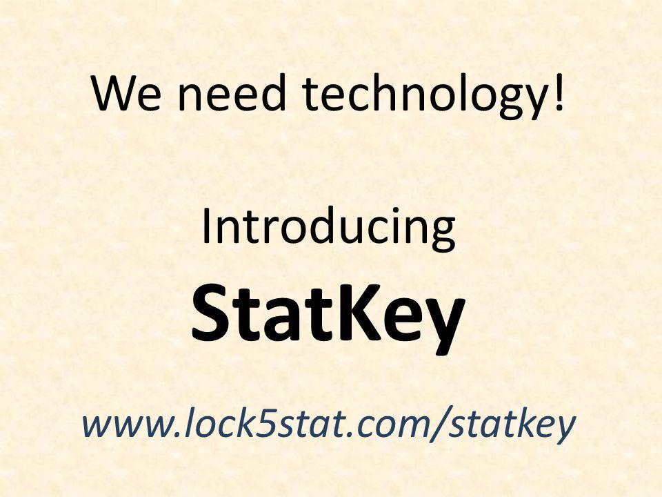 We need technology! Introducing StatKey www.lock5stat.com/statkey