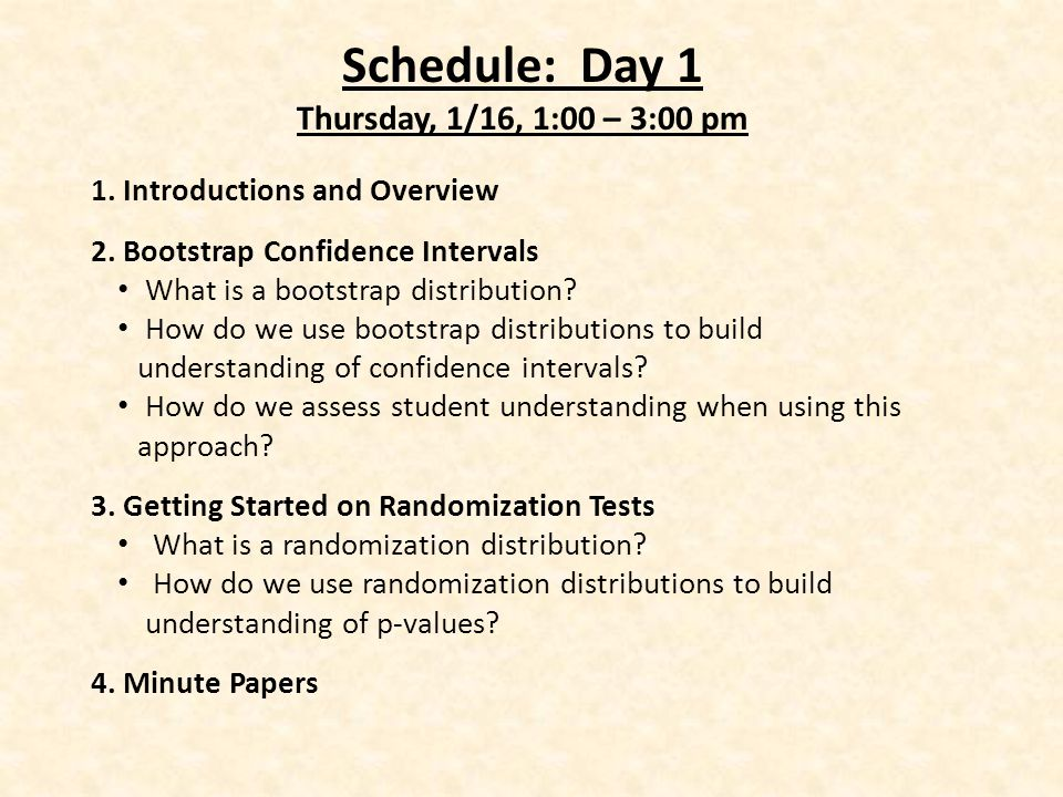Schedule: Day 1 Thursday, 1/16, 1:00 – 3:00 pm 1. Introductions and Overview 2.