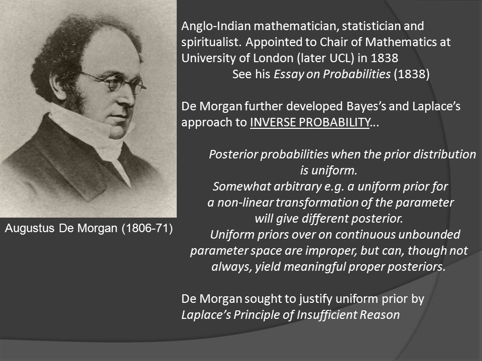 Augustus De Morgan (1806-71) Anglo-Indian mathematician, statistician and spiritualist.