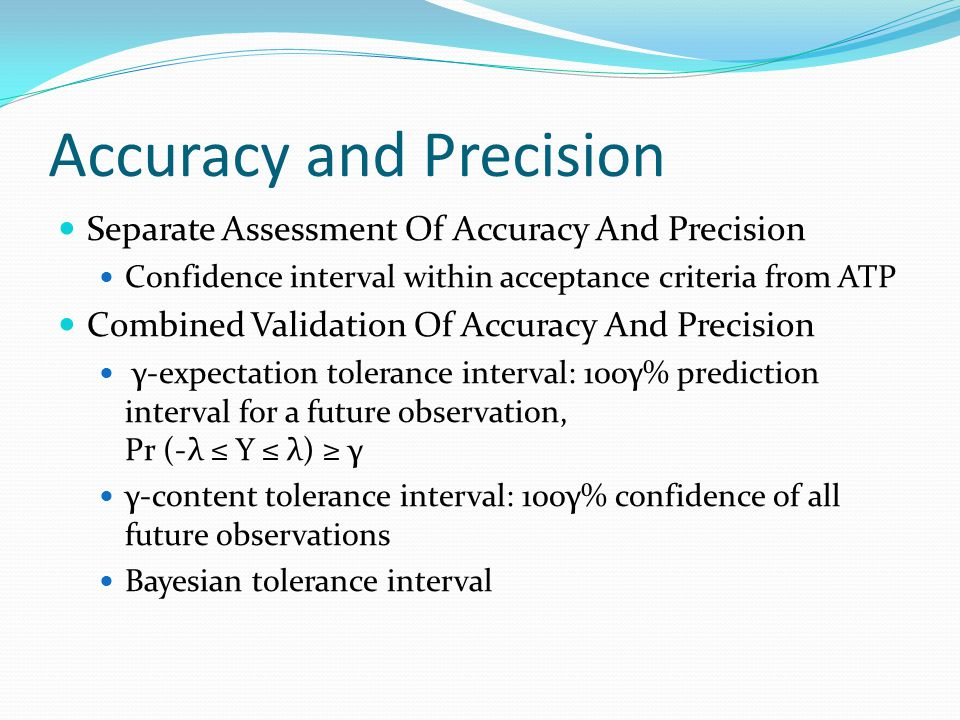 Accuracy and Precision Separate Assessment Of Accuracy And Precision Confidence interval within acceptance criteria from ATP Combined Validation Of Ac