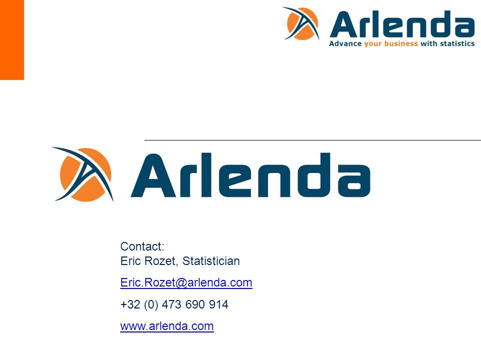 Contact: Eric Rozet, Statistician Eric.Rozet@arlenda.com +32 (0) 473 690 914 www.arlenda.com