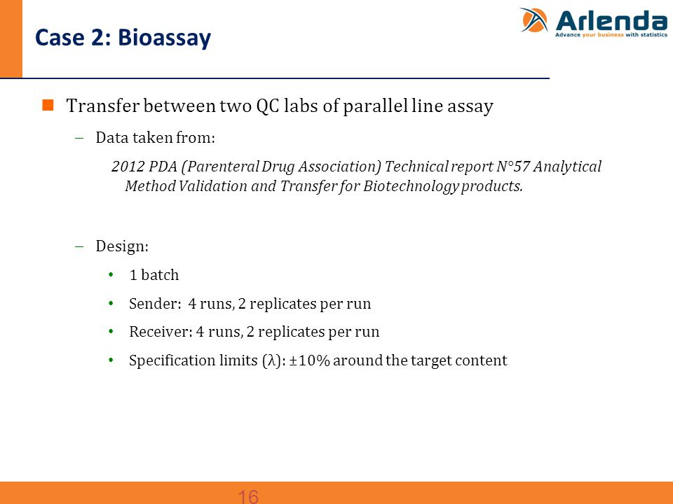 16 Case 2: Bioassay Transfer between two QC labs of parallel line assay  Data taken from: 2012 PDA (Parenteral Drug Association) Technical report N°57 Analytical Method Validation and Transfer for Biotechnology products.