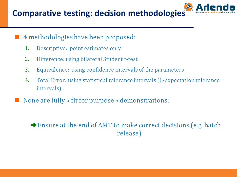Comparative testing: decision methodologies 4 methodologies have been proposed: 1.Descriptive: point estimates only 2.Difference: using bilateral Student t-test 3.Equivalence: using confidence intervals of the parameters 4.Total Error: using statistical tolerance intervals (β-expectation tolerance intervals) None are fully « fit for purpose » demonstrations:  Ensure at the end of AMT to make correct decisions (e.g.