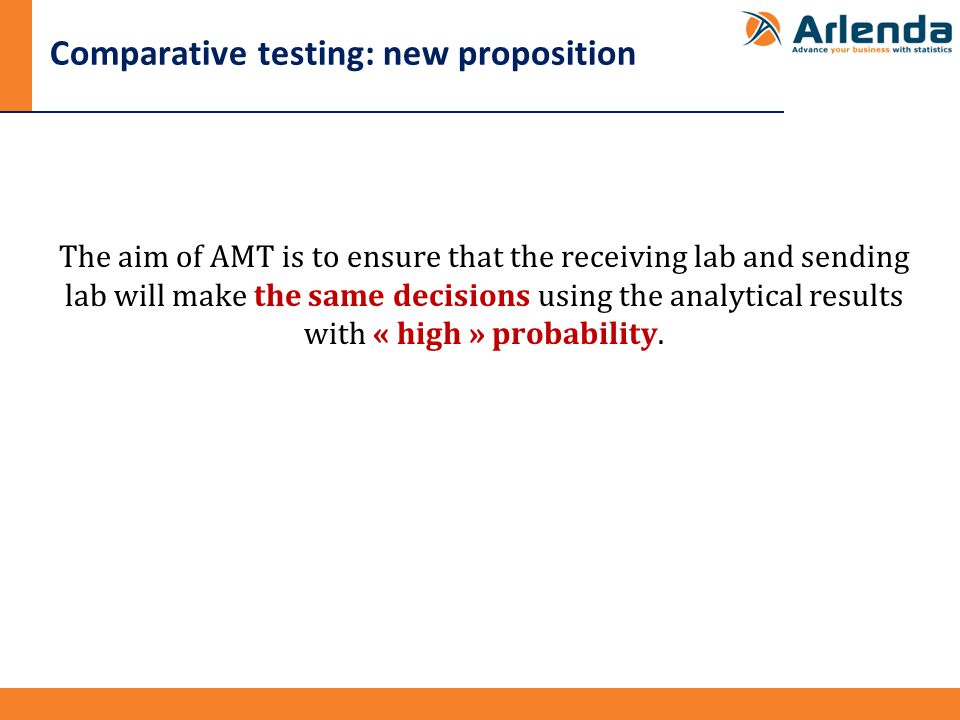 Comparative testing: new proposition The aim of AMT is to ensure that the receiving lab and sending lab will make the same decisions using the analytical results with « high » probability.