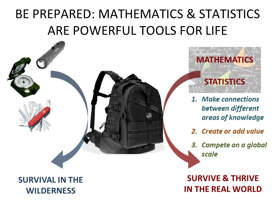 BE PREPARED: MATHEMATICS & STATISTICS ARE POWERFUL TOOLS FOR LIFE SURVIVAL IN THE WILDERNESS 1.Make connections between different areas of knowledge 2