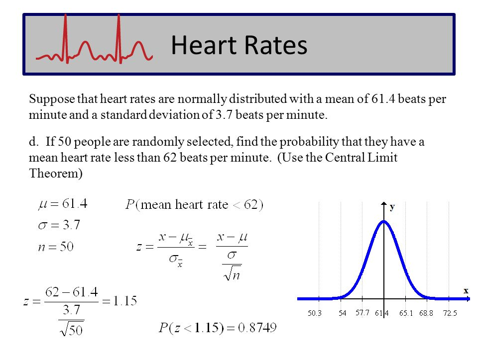 Heart Rates Suppose that heart rates are normally distributed with a mean of 61.4 beats per minute and a standard deviation of 3.7 beats per minute. d