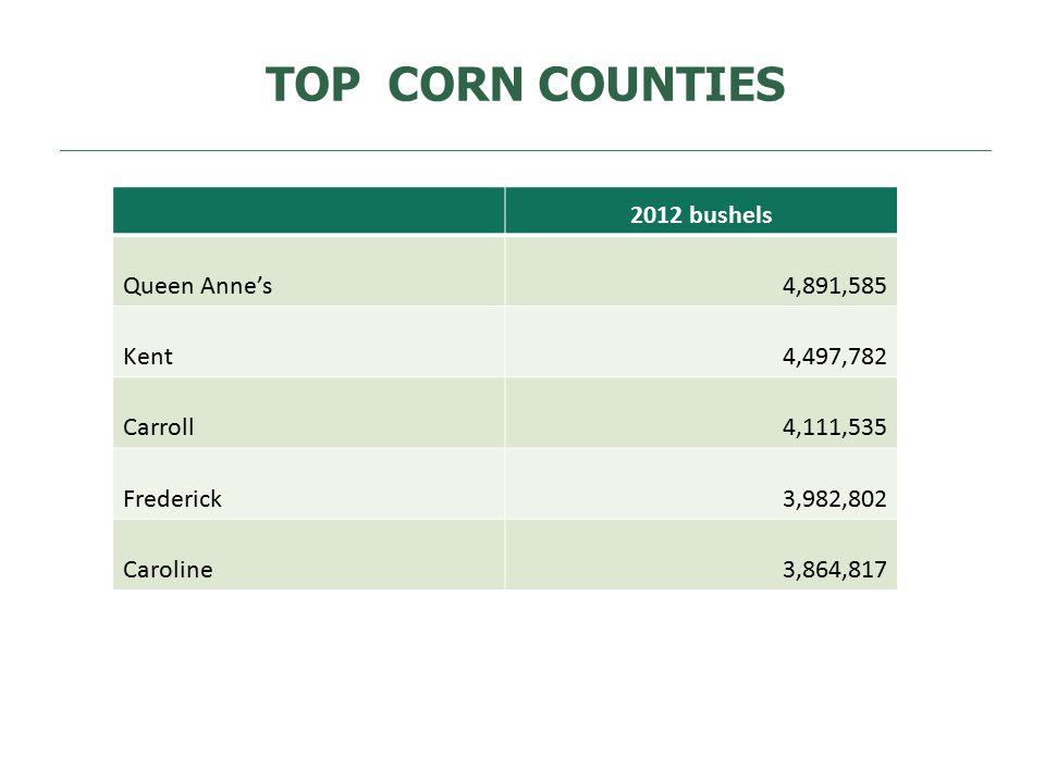 TOP CORN COUNTIES 2012 bushels Queen Anne's4,891,585 Kent4,497,782 Carroll4,111,535 Frederick3,982,802 Caroline3,864,817