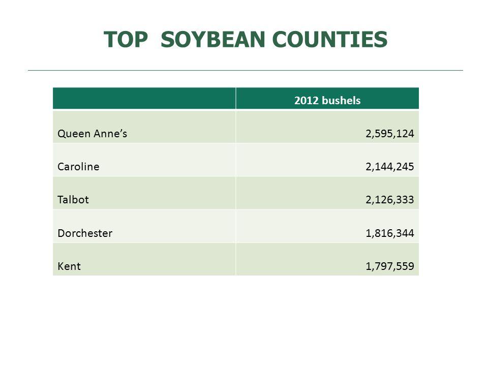 TOP SOYBEAN COUNTIES 2012 bushels Queen Anne's2,595,124 Caroline2,144,245 Talbot2,126,333 Dorchester1,816,344 Kent1,797,559