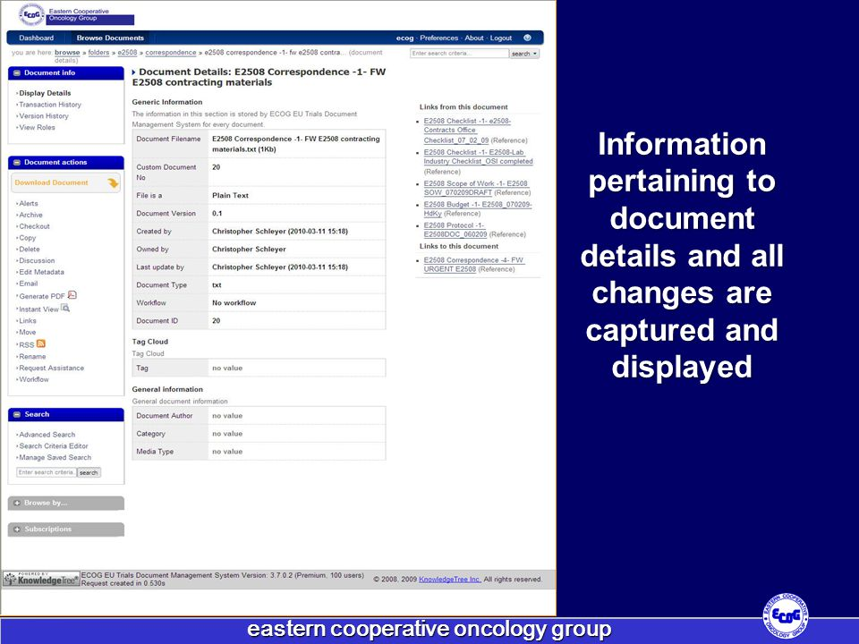 eastern cooperative oncology group Information pertaining to document details and all changes are captured and displayed
