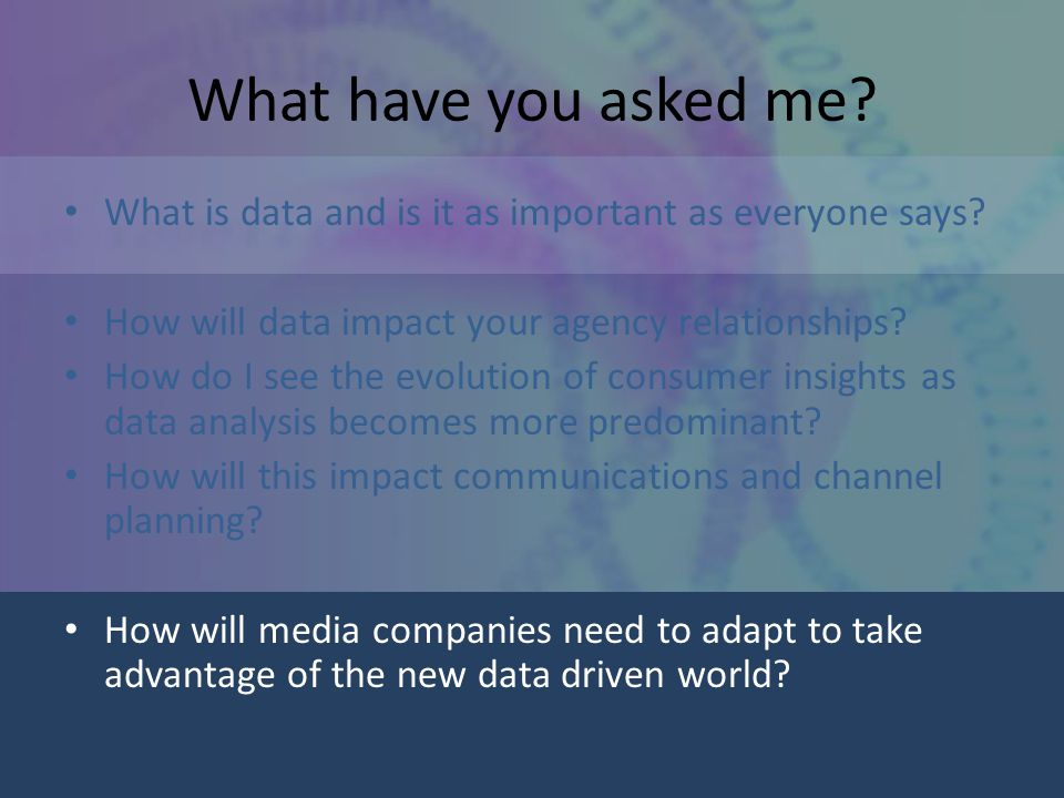 What have you asked me. What is data and is it as important as everyone says.