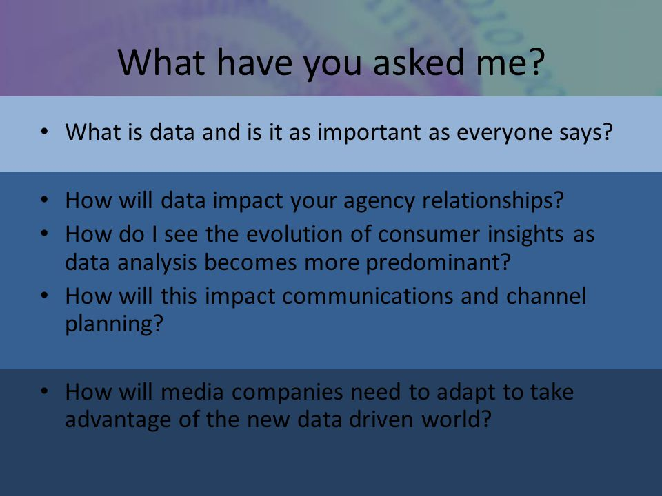 A final thought from W Edwards Dening In God we trust… …All others must bring data.