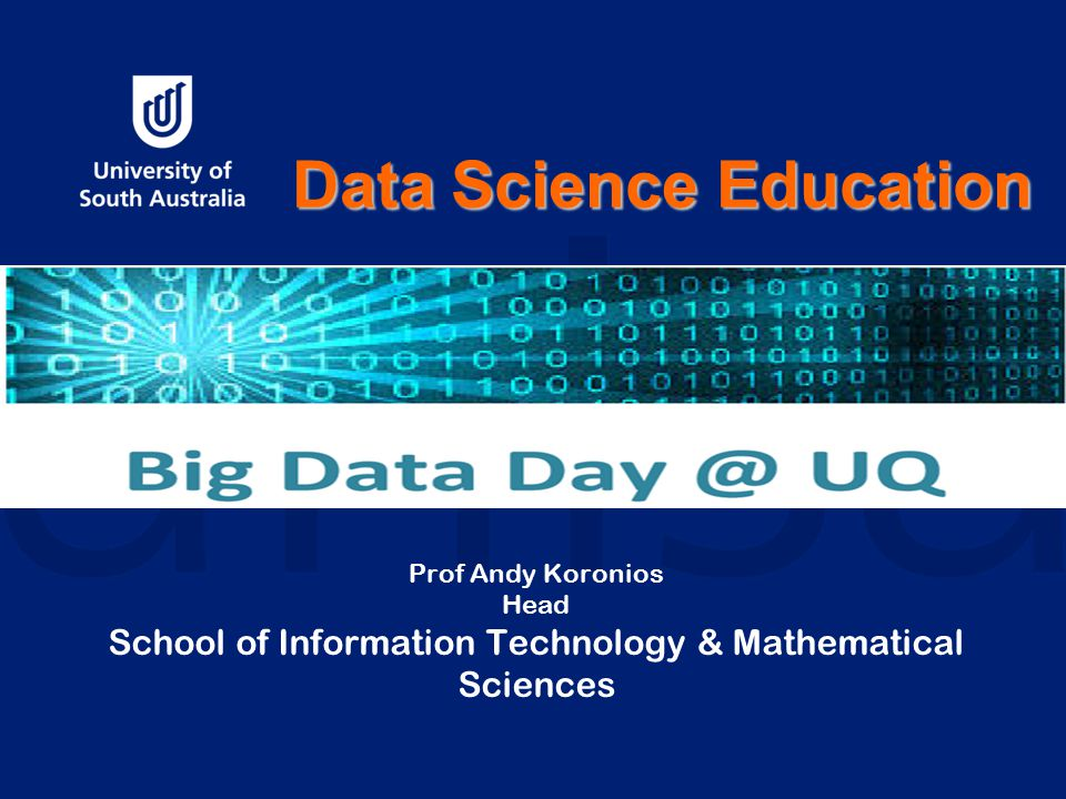 Prof Andy Koronios Head School of Information Technology & Mathematical Sciences Data Science Education