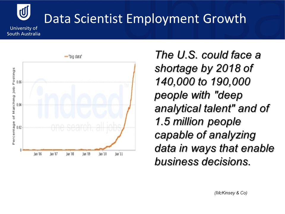 Data Scientist Employment Growth The U.S. could face a shortage by 2018 of 140,000 to 190,000 people with