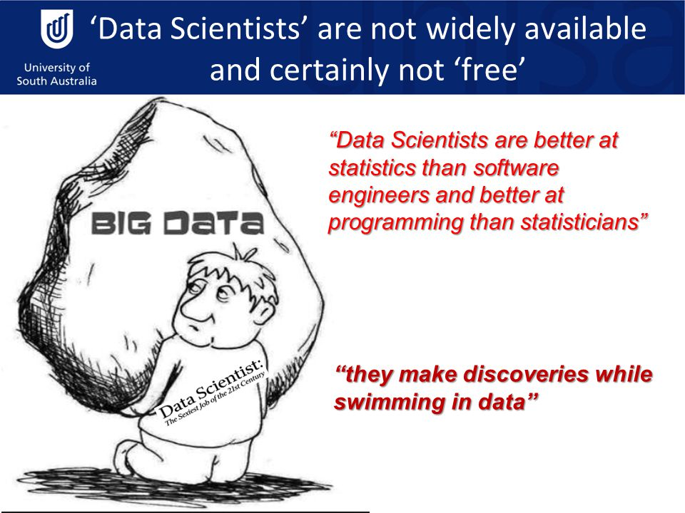 'Data Scientists' are not widely available and certainly not 'free' Data Scientists are better at statistics than software engineers and better at programming than statisticians they make discoveries while swimming in data