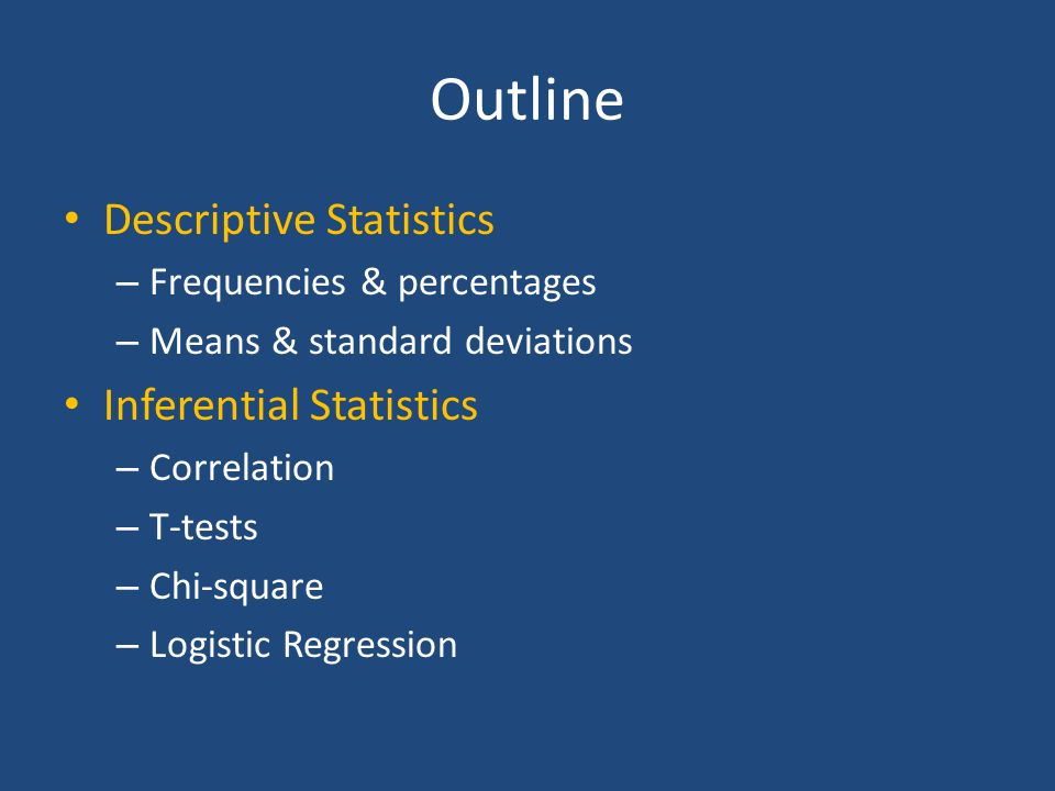 Types of Statistics/Analyses Descriptive Statistics – Frequencies – Basic measurements Inferential Statistics – Hypothesis Testing – Correlation – Confidence Intervals – Significance Testing – Prediction Describing a phenomena How many.