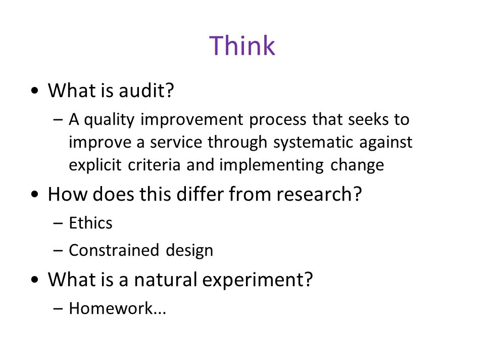 Think What is audit.